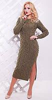 Платье длинное с разрезом цвета капучино(вст)