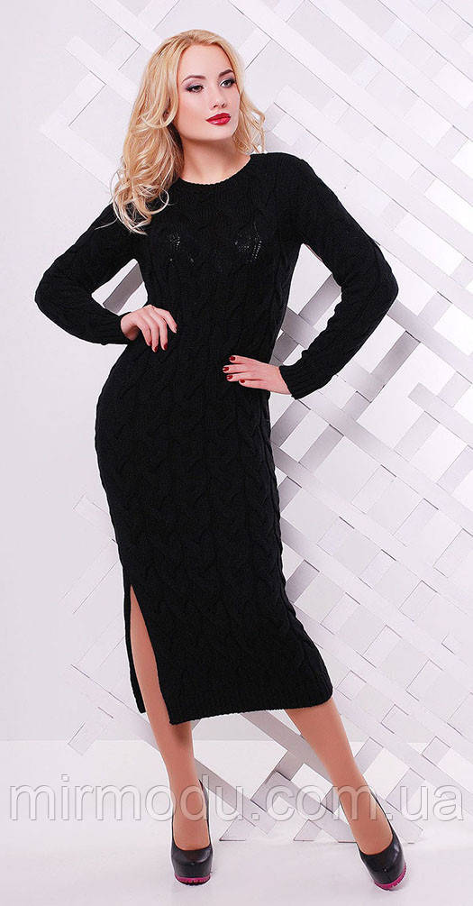 Платье длинное с разрезом черное(вст)3056