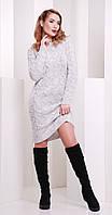 Платье короткое вязаное светло-серое(вст)3070