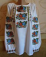 """Вишиванка (вышиванка) на білому  домоткану полотні """"Кольорова"""", 48-50 розміру."""