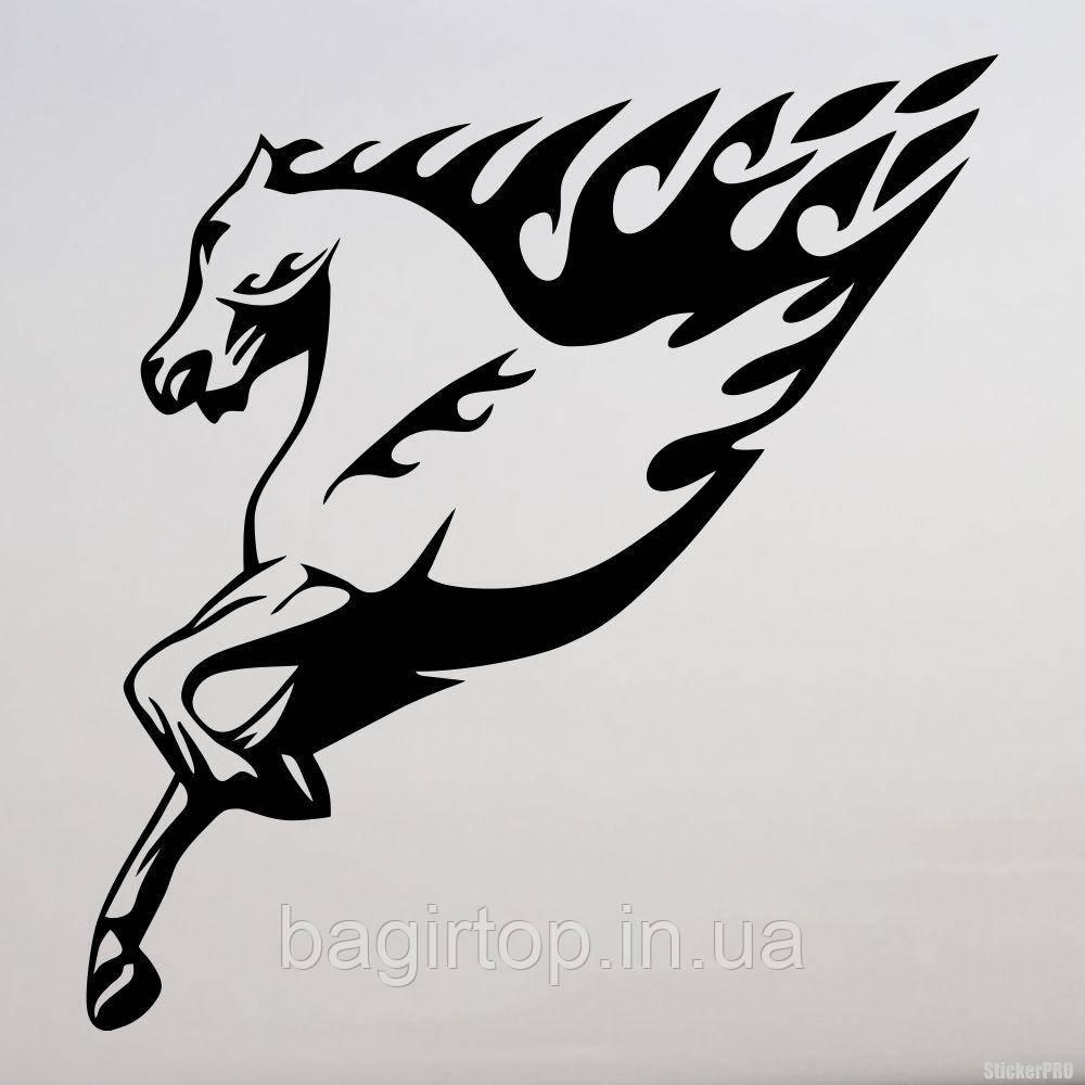 Виниловая наклейка на авто - огненый лошадь  2