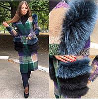 Женское эксклюзивное пальто с натуральным мехом песца