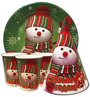 """Набор со снеговиком """" С Новым Годом  """" Тарелки -10 шт. Стаканчики - 10 шт. Колпачки - 10 шт."""