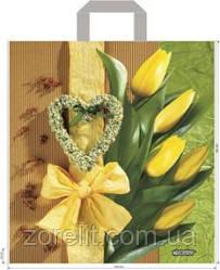 Пакет петля 40*45 жолтые тюльпаны