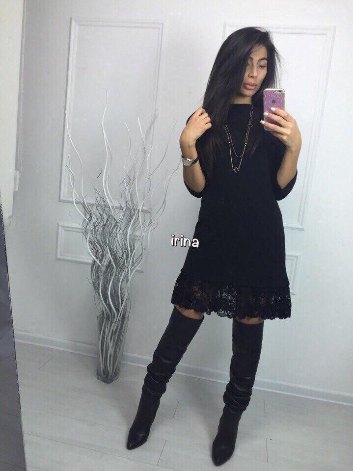 Ангоровое платье с кружевом «Heather»