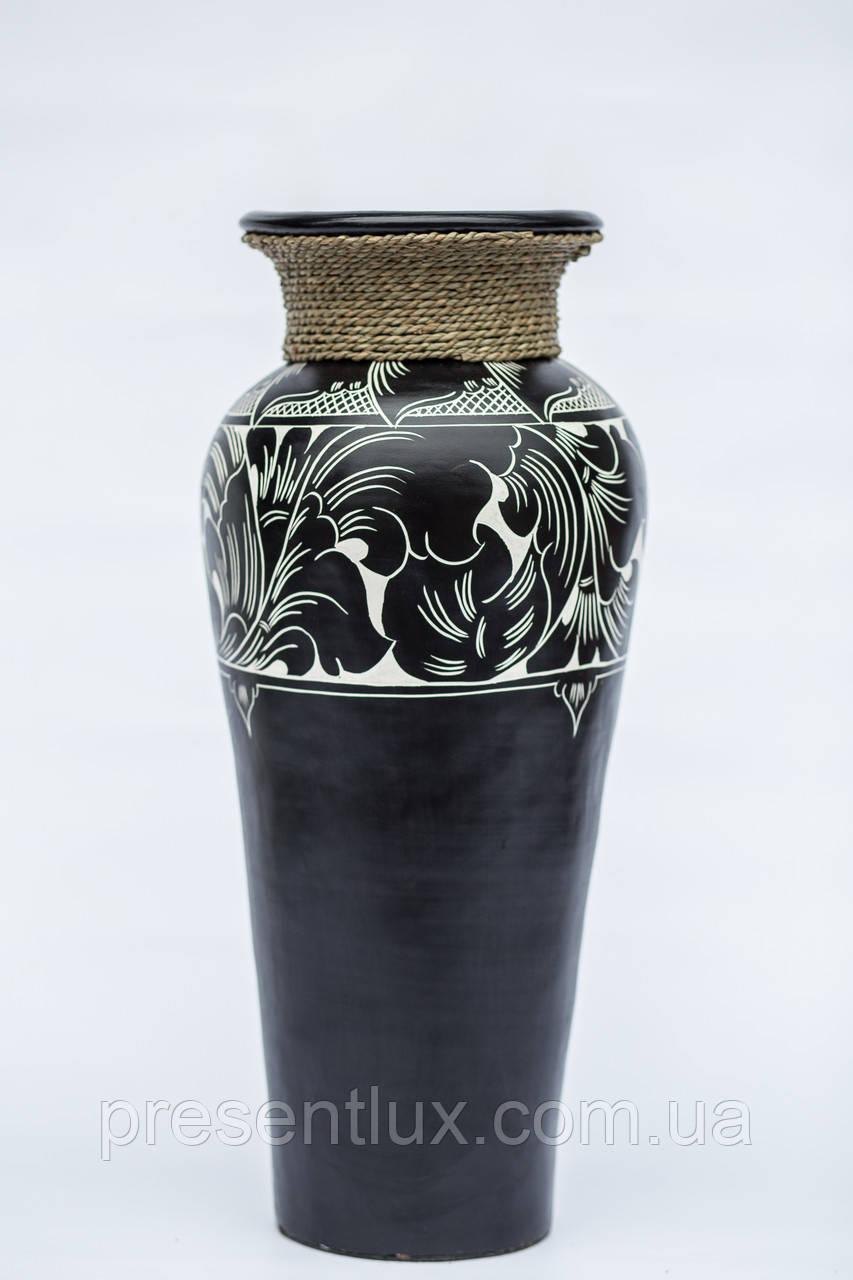 Ваза классик черно-белая с веревкой 80 см