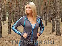 """Женская спортивная кофта Adidas """"Триколор"""" с длинным рукавом. Распродажа серый с голубыми лампасами, 42"""