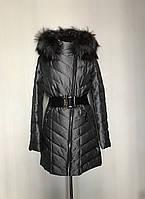 Женская теплая красивая куртка удлинённая с натуральной чернобуркой