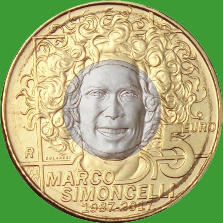 Сан Марино 5 євро 2017 р. 30 років з дня народження італійського мотогонщика Марко Сімончеллі
