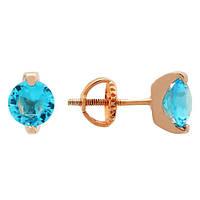 Позолоченные сережки-пуссеты из серебра с голубыми фианитами Аделис 000039823