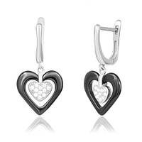 Серьги из серебра с керамикой и фианитами Romantic Date 000039832