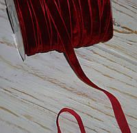 Бархатная лента 1 см темно-красного цвета
