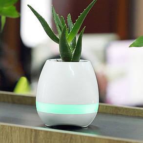 Портативная колонка Flower Pot (Светомуз, Bluetooth, FM) white - Акционная цена!, фото 2