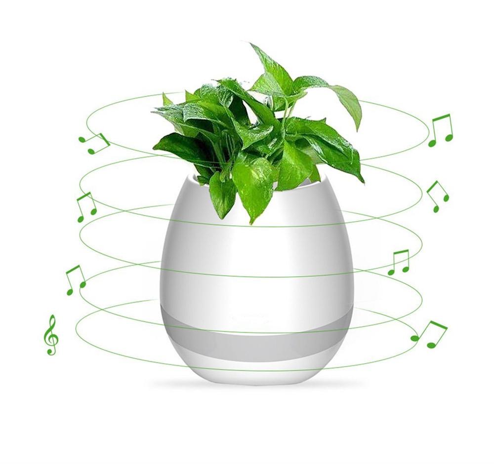 Портативная колонка Flower Pot (Светомуз, Bluetooth, FM) white - Акционная цена!