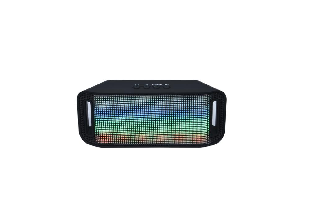 Портативная колонка A38 (Светомузыка, Bluetooth+USB+micro SD, FM, AUX, soft touch) black