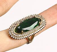 Кольцо серебро 925, изумруд, топаз 18р.