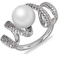 Кольцо из белого золота Серпантин с жемчугом и бриллиантами  17 000043871
