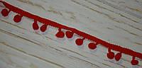 Тесьма с помпонами красного цвета , фото 1