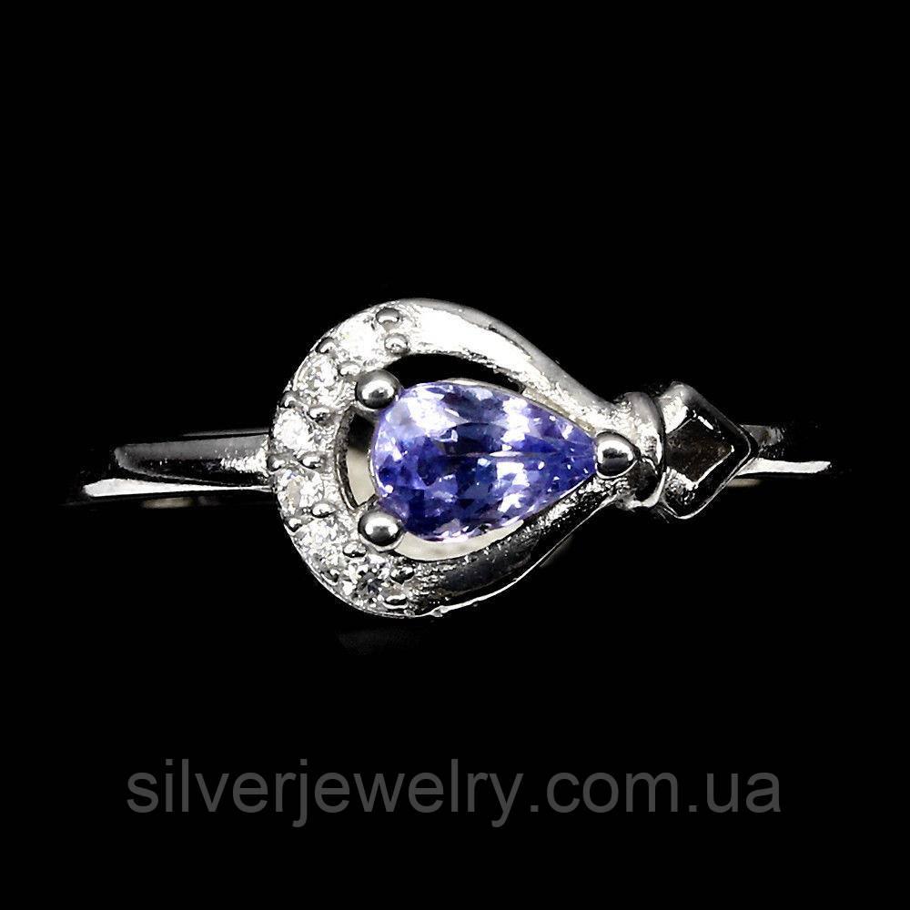 Серебряное кольцо с ТАНЗАНИТОМ (натуральный), серебро 925 пр. Размер 18