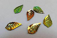 Подвеска Лист, Листочек, Металл, Зелёный перелив, 15 мм x 8 мм