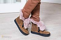 Нереально удобные, женские, зимние ботинки с отворотом на меху из натурального кролика. РАЗНЫЕ ЦВЕТА
