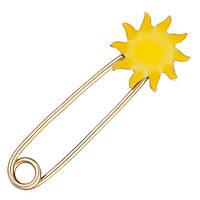 Булавка из желтого золота Солнышко с эмалью 000054151