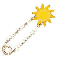 Булавка из красного золота Солнышко с эмалью 000054149