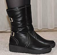 Ботинки кожаные зимние на толстой подошве