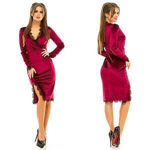 Платье бархатное с кружевом, 4 цвета   арт 2920-87