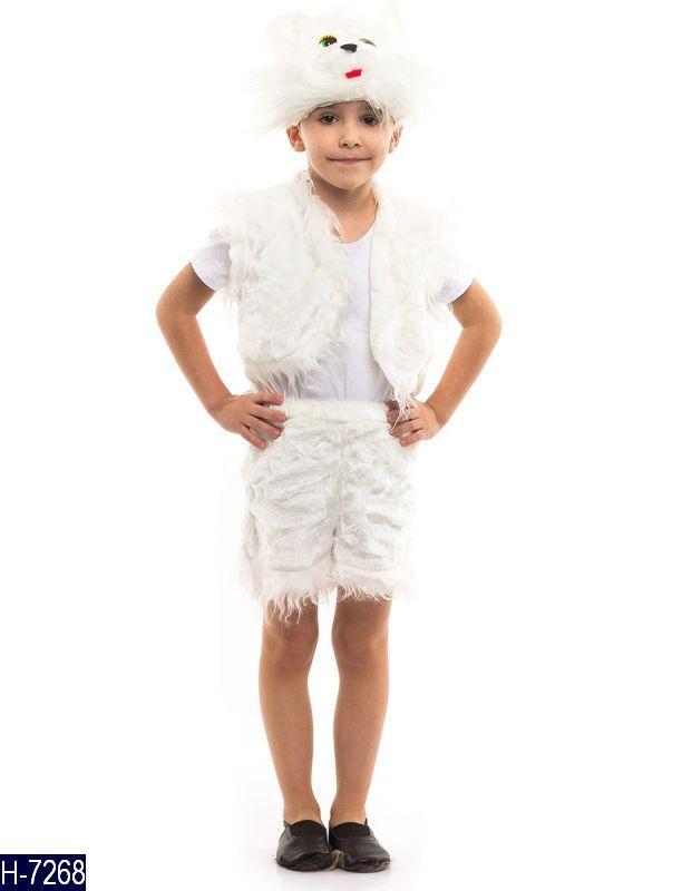 Карнавальный костюм КОТИК, КОТ, КОТЕНОК белый для мальчика 3,4,5,6,7 лет маскарадный новогодний костюм