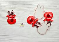 Олень новогодний, 2,3 см*1,5 см*2 мм, цвет красный, акрил