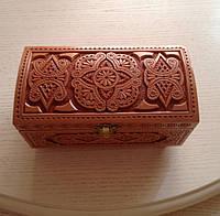 Шкатулка різьблена сувенірна дерев'яна авторська робота 18*10*10 см, фото 1