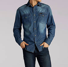 Джинсовая рубашка Lee®Long Sleeve Vinttage Wash Western Denim Shirt - Dark Wash