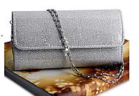 Женская сумка клатч вечерний серебряный (на праздник, Новый год 2018)