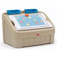 """Комод 2 в 1 для игрушек и поверхность для творчества """"BOX & ART"""", 48х78х48 см, пастельный"""