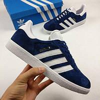 Мужские кроссовки Adidas Gazelle (Адидас Газель) темно-синие