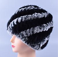 Женская шапка из меха кролика рекс серая с чёрными полосками , фото 1
