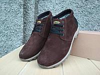 Зимние кожаные мужские ботинки коричневого цвета
