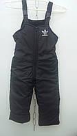 Детские штаны плащевка  на флисе оптом 86-98 черные, фото 1