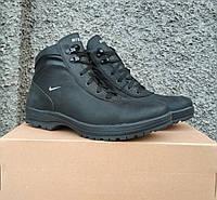 Зимние кожаные мужские ботинки спортивного стиля, черные