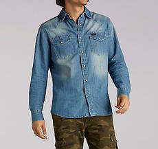 Джинсовая рубашка Lee®Long Sleeve Vinttage Wash Western Denim Shirt - Light Wash