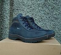 Зимние кожаные мужские ботинки спортивного стиля синие