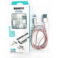 Магнитный USB Кабель MAGNETIC с двумя разъемами lightning и micro
