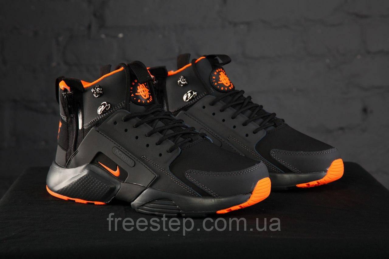 a75cc9d9 Зимние кроссовки в стиле Nike Air Huarache X Acronym City MID Lea нубук  высокие черные с