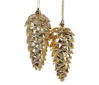 Набор елочных украшений (2 шт) Шишка 14см, золото