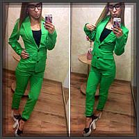 Женский деловой костюм габардиновый Зелёный