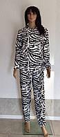 Женская махровая пижама с принтом зебра 44-50 р., женские пижамы оптом от украинского производителя