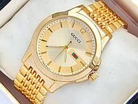 Золотые часы Gucci на металлическом браслете, фото 1