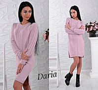Теплое вязанное платье розовое ЛЧ012/01