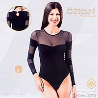 Женское боди с полупрозрачным верхом и рукавами Ozkan Турция OZ-22773Siyah